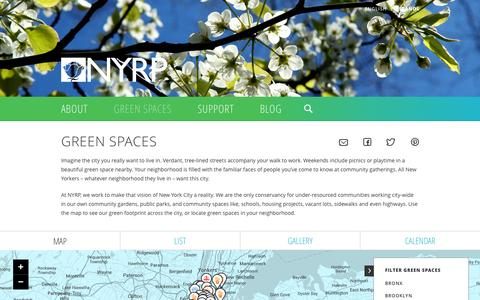 Screenshot of Maps & Directions Page nyrp.org - Green Spaces   NYRP - captured Oct. 7, 2014