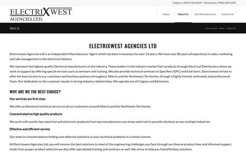 Screenshot of About Page electrixwest.com - About Us - ElectrixWest - captured Sept. 27, 2018
