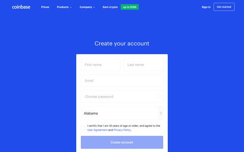 Screenshot of Signup Page coinbase.com - Buy/Sell cryptocurrency - Coinbase - captured Feb. 8, 2020