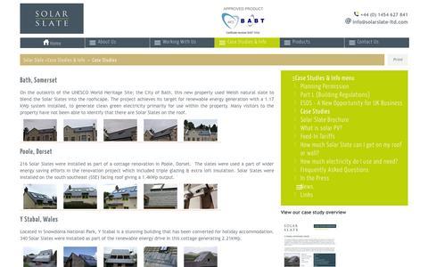Screenshot of Case Studies Page solarslate-ltd.com - Solar Slate case studies - captured Oct. 7, 2014