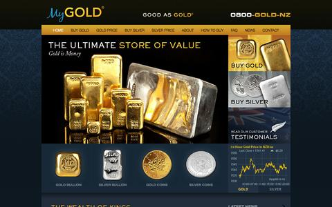 Screenshot of Home Page mygold.co.nz - Buy Gold Online | Purchase Gold Bars & Coins | MyGold ® - captured Oct. 7, 2014