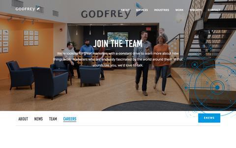 Screenshot of Jobs Page godfrey.com - Careers | B2B Marketing Agency | Lancaster, PA | Godfrey - captured July 14, 2019