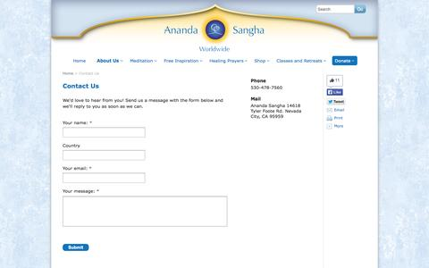 Screenshot of Contact Page ananda.org - Contact Us - Ananda Sangha Worldwide - captured Sept. 19, 2014