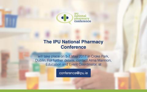Screenshot of Home Page pharmacyconference.ie - IPU Conference 2016 - captured Nov. 17, 2016