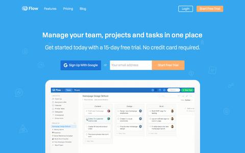 Screenshot of Signup Page getflow.com - Flow - Project Management and Task Tracking Software for Teams - captured June 20, 2017
