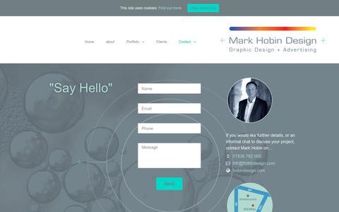 Screenshot of Contact Page hobindesign.com - Contact - Mark Hobin Design - captured Dec. 17, 2018