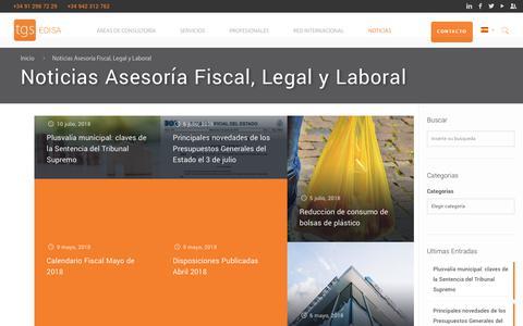 Screenshot of Press Page tgs-edisa.com - Noticias Asesoría Fiscal, Legal y Laboral - TGS Edisa - captured Sept. 20, 2018