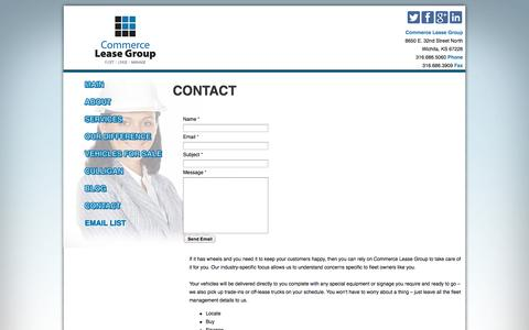 Screenshot of Contact Page commerceleasegroup.com - Contact Commerce Lease Group: Commercial Vehicle Fleet Leasing - captured Sept. 30, 2014