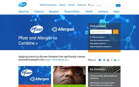 Screenshot of Home Page pfizer.com - Pfizer: One of the world's premier biopharmaceutical companies - captured Dec. 1, 2015