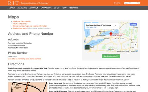 Screenshot of Maps & Directions Page rit.edu - Maps - RIT - captured July 12, 2018
