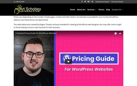 Screenshot of Pricing Page arteffects.com - Affordable WordPress Web Design Services for the Raleigh, NC area. | Art Schobey Interactive Raleigh Area North Carolina - captured Oct. 4, 2018