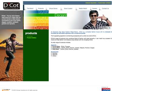 Screenshot of Products Page dcot.in - Products - D'Cot - A complete fashion house with latest and trendiest fashion apparels and accessories that is brought to you by Donear. - captured Oct. 3, 2014