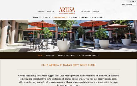 Screenshot of Signup Page artesawinery.com - Club Artesa - Artesa Winery - captured Jan. 10, 2018