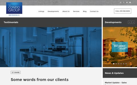 Screenshot of Testimonials Page thecondogroup.com - The Condo Group - captured Oct. 1, 2014