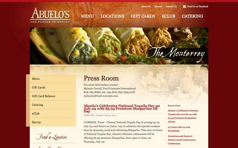 Screenshot of Press Page abuelos.com - Press Room - captured Sept. 19, 2014