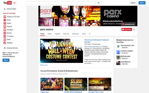 Screenshot of YouTube Page youtube.com - parx casino  - YouTube - captured Oct. 23, 2014