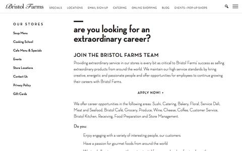 Screenshot of Jobs Page bristolfarms.com - Are You Looking for an Extraordinary Career? | Bristol Farms - captured Aug. 4, 2018