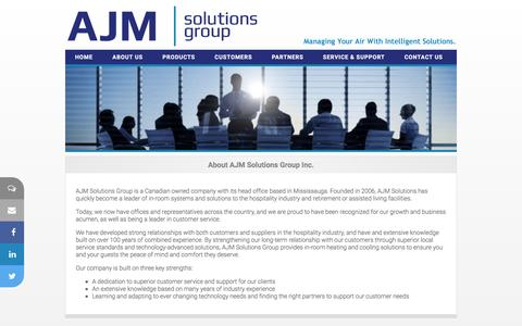 Screenshot of About Page ajmsolutionsgroup.com - AJM Solutions Group Inc.  - Hospitality Solutions - captured Feb. 4, 2016