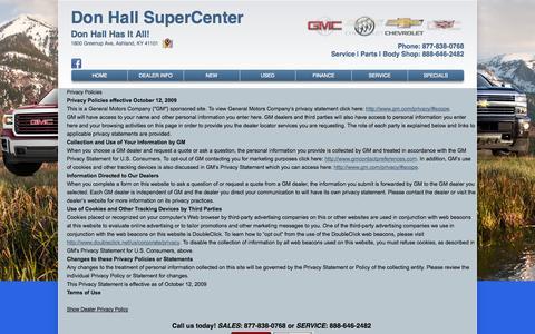 Screenshot of Privacy Page donhallgmsupercenter.com - Privacy Policy of Don Hall SuperCenter - captured Sept. 30, 2014