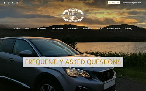 Screenshot of FAQ Page celticlegend.co.uk - Frequently Asked Questions - Celtic Legend Travel - captured Sept. 25, 2018