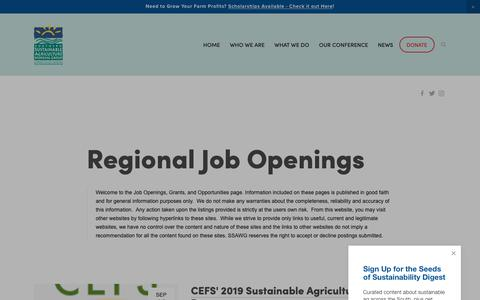 Screenshot of Jobs Page ssawg.org - Jobs in Region — Southern Sustainable Agriculture Working Group - captured Oct. 18, 2018