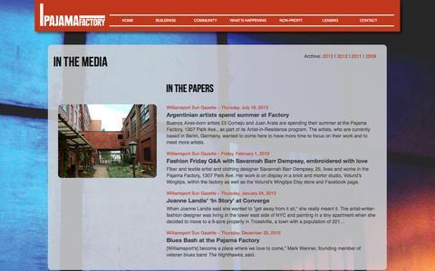 Screenshot of Press Page pajamafactory.net - Media | Pajama Factory - captured Oct. 6, 2014
