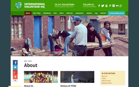 Screenshot of About Page volunteerhq.org - About | International Volunteer HQ - captured Sept. 22, 2014