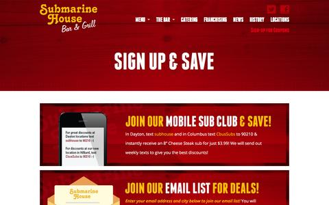 Screenshot of Signup Page submarinehouse.com - Sign Up & Save | Submarine House - captured Sept. 30, 2014