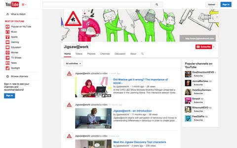Screenshot of YouTube Page youtube.com - Jigsaw@work  - YouTube - captured Oct. 25, 2014