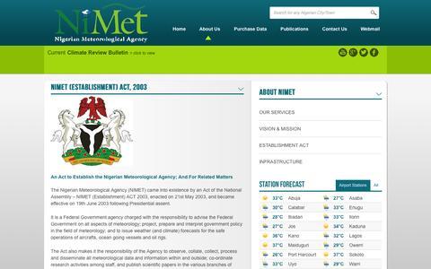 Screenshot of About Page nimet.gov.ng - NIMET (Establishment) Act, 2003 | Nigerian Meteorological Agency - captured Nov. 5, 2014