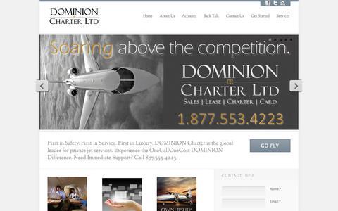 Screenshot of Home Page dominioncharterltd.com - DOMINION Charter Ltd | Luxury private jet charter - captured Sept. 30, 2014