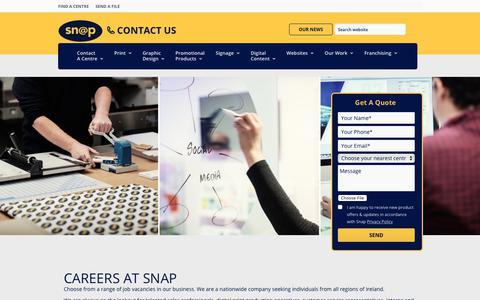 Screenshot of Jobs Page snap.ie - Snap Ireland Careers – Current Job Vacancies at Snap - captured Oct. 18, 2018