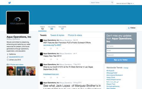 Screenshot of Twitter Page twitter.com - Aqua Operations, Inc (@Aqua_Operations) | Twitter - captured Oct. 23, 2014
