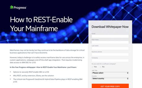 Screenshot of Landing Page progress.com - How to REST-Enable Your Mainframe - captured July 17, 2019