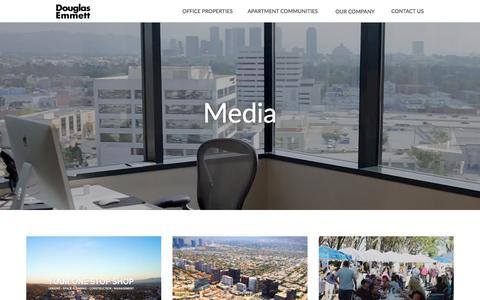 Screenshot of Press Page douglasemmett.com - Media: Real Estate Photos, Videos, & More| Douglas Emmett | Douglas Emmett - captured Aug. 7, 2018