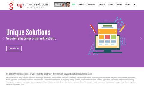 Screenshot of Home Page ogsoftwaresolutions.com - MLM Software | E-commerce Website| ERP | Software Chennai - captured March 6, 2016