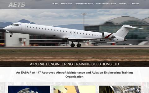 Screenshot of Home Page aetsltd.com - Aircraft Engineering Training Solutions | Training Courses for Aircraft Engineers - captured Oct. 3, 2018