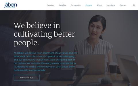Screenshot of Jobs Page jabian.com - Careers - Jabian - captured Dec. 19, 2018