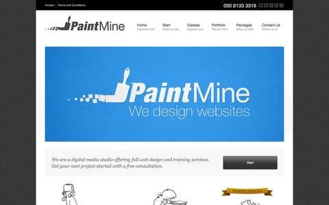 Screenshot of Home Page paintmine.com - Paintmine Ltd   London web design and training - captured Sept. 19, 2014