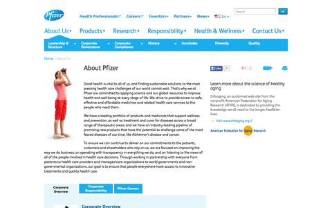 Screenshot of About Page pfizer.com - About Pfizer | Pfizer: One of the world's premiere biopharmaceutical companies - captured Sept. 19, 2014