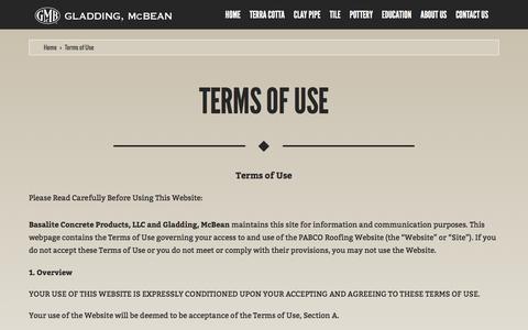 Screenshot of Terms Page gladdingmcbean.com - Terms of Use   Gladding, McBean - captured Dec. 9, 2015