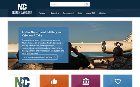 Screenshot of Home Page nc.gov - State of North Carolina - captured Jan. 13, 2016