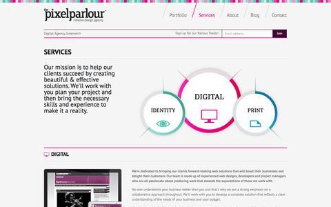 Screenshot of Services Page pixelparlour.co.uk - Services | The Pixel Parlour | Web Design Agency, London - captured Sept. 23, 2014