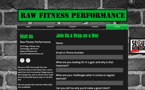 Screenshot of Contact Page raw-fitness.net - Contact - captured Nov. 12, 2017