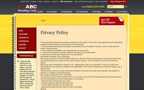 Screenshot of Privacy Page abcroofingcorp.com - ABC Roofing Corporation Privacy Policy | Roof Repair Confidentiality - captured May 28, 2017