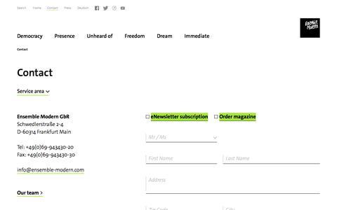 Screenshot of Contact Page internationale-em-akademie.de - Ensemble Modern - Contact - captured Feb. 5, 2017