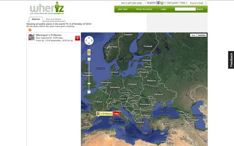 Screenshot of Maps & Directions Page wheriz.es - Interactive Map - wheriz | Manage, share and synchronize your geo-localized agenda - captured Oct. 9, 2014