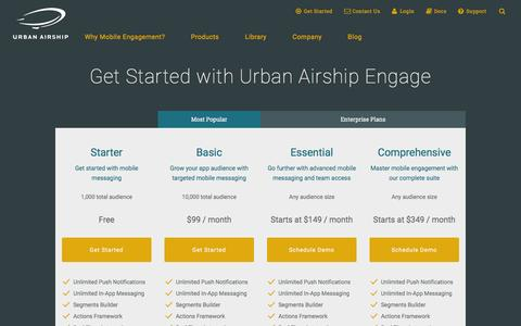 Screenshot of Pricing Page urbanairship.com - Mobile Engagement Packages | Urban Airship - captured Nov. 24, 2015