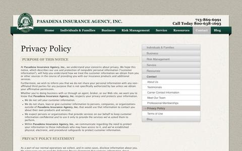 Screenshot of Privacy Page pasins.com - Pasadena Insurance Agency, Inc. > Contact > Privacy Policy - captured Oct. 1, 2014