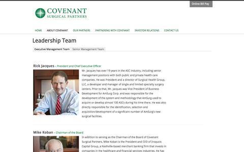 Screenshot of Team Page covenantsurgicalpartners.com - Leadership Team | Covenant Surgical Partners - captured Sept. 13, 2014